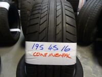 MATCHING PAIR 195 45 16 CONTIS 5-6mm TREAD £50 PAIR SUPP & FITTD * PaisleyPartWorn Tyres *OPN 7dys*