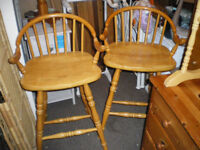 A PAIR OF SOLID PINE STOOLS