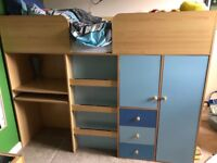 Child's cabin bed with inbuilt desk, wardrobe and drawers