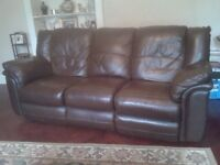 Leather 3 seater sofa & chair