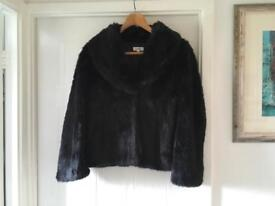 LADIES EVENING FAUX FUR BLACK JACKET