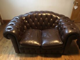 2x leather chesterfield sofas