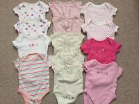 12 Baby girls vests 0-3 months.