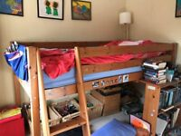 Children's mid sleeper single bed with pull out table/desk and bookcase