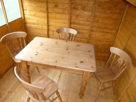 Solid Pine Farmhouse Table and Four Chairs LIKE NEW