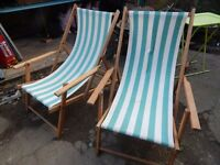 Matching pair of vintage deckchairs