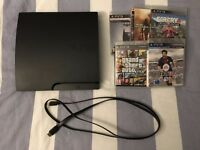 (SLIM) PS3 500GB w/ 5 games, a controller, and all cables provided (including HDMI)