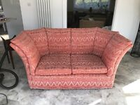 Two Seater Rust Coloured Chenille Sofa for Sale.