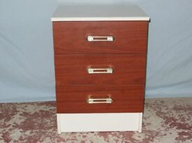 Bedside cabinet - White with simulated brown wooden finish