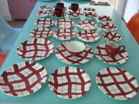 Superb set of Vintage 1950's Empire red checked table ware NO damage Excellent