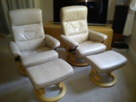 Ekornes STRESSLESS Leather Recliner Armchairs with Footstools
