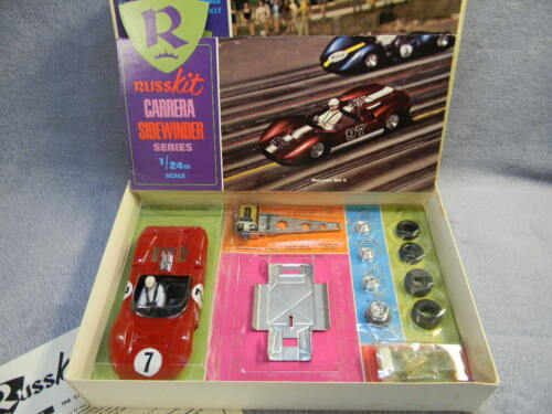 1/24 SCALE VINTAGE RUSSKIT 1966 MCLAREN MK II ALUMINUM PAN RED SLOT CAR KIT-RARE