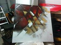 Red, black, white, gold abstract painting