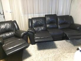 Recliner Leather sofa and armchair 3+1