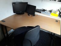 2 Beech with metal frame office desks & 2 office Chairs