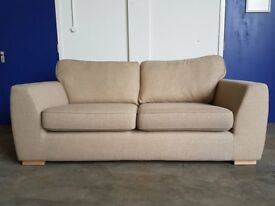 AS NEW CONDITION EX DISPLAY DFS ZAPP BEIGE FABRIC 3 SEATER SOFA / SETTEE DELIVERY AVAILABLE