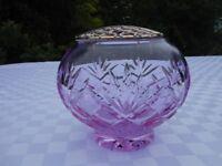 Glass rose bowl