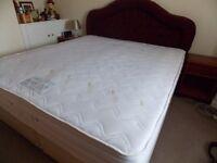 Superking size memory foam sprung mattress, divan base plus headboard