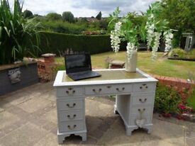 Vintage shabby chic writing desk/computer desk/dressing table/sideboard in Dove grey by Laura Ashley