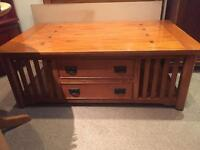 Large Solid Oak Coffee Table with Drawers / Shelves - CAN DELIVER