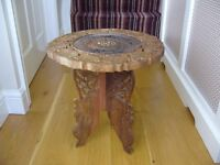 Hand carved 70's Indian round top wood wooden coffee side table / Used