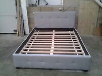 Unused grey fabric king size bed frame. Excellent, bargain, can deliver.