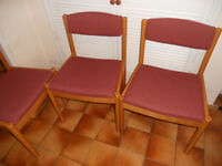 3 Ercol Reception Chairs, Waiting Room, Staff Room, Dining Chairs