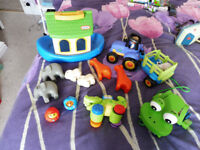 collection of toddler toys wooden and plastic