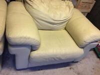 Sofa and arm chair cream leather
