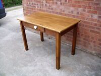 """Antique Country Pine Kitchen Table 1 Drawer 43"""" x 26"""" Farmhouse Rustic Style"""