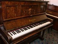 KIRKWOOD LONDON UPRIGHT PIANO WALLNUT INLAID GOOD WORKS TUNED CAN DELIVER £120