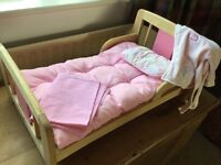 Baby Annabell wooden bed and accessories