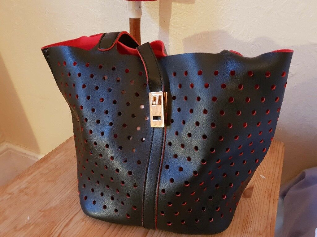 David Jones Small Black Bag With Inner Red Lining And Separate Lined Polyester Zip