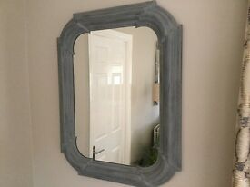 Solid wood pale grey wall mirror