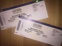 2 X JUSTIN BIEBER TICKETS - MANCHESTER ARENA - FRIDAY 21st OCTOBER - GREAT SEATS