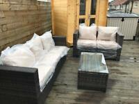 Outdoor conservatory garden set seats, 5 seater sofa set with table - Free delivery today