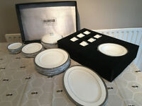 32 piece Versailles dinner set, white with platinum trim, unused, perfect condition