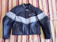 Alpinestars Leather Motorcycle Jacket Ladies UK 8 or 10 EURO 48 Black / Grey