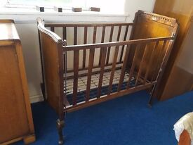 Vintage Mahogany Cot with Spring bottom