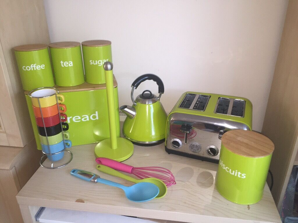 Lime Green Kitchen Canisters Lime Green Kitchen Kettle Toaster Canister Mug Complete Set Up Set