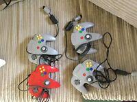 4 Nintendo 64 games controllers