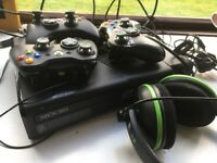 Xbox 360 with 3 controllers and turtle beach headphones with mic. All in full working order. £80.