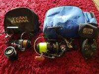 Fishing reels , bite alarm carry cases and a few other things