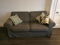 Ektorp, Nordvalla Dark Grey sofas x2 and footstool