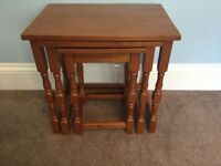 Solid Wooden Nest of Tables Largest Table Measures H18.5in/47cmW19in/48cmD13in/33cm