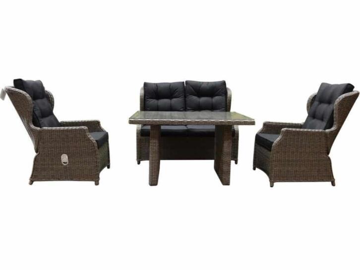 Ibiza XL stoel-bank loungeset 4-delig verstelbaar kobo grijs
