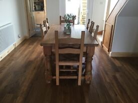 Chunky solid pine table & 6 chairs