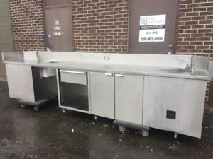 Stainless Steel Table with Hand Sink, Storage and Waste Chute