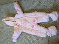 Gorgeous girls all in one snow suit age 3-6 months, in excellent condition
