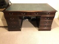 Antique Style Partners Deep Desk With Green Leather Top